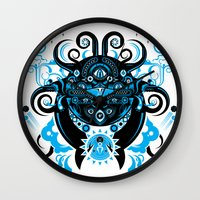 cthulu Wall Clocks featuring Lovecraftian Cosmic Horror by BlanzyDesign