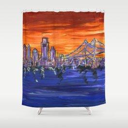 Ben Franklin Bridge Sunset Shower Curtain