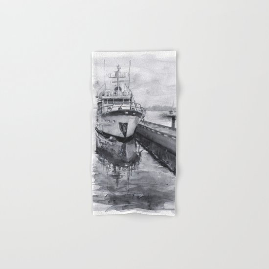Kirkland Marina Waterfront Boat Watercolor Seattle Hand & Bath Towel
