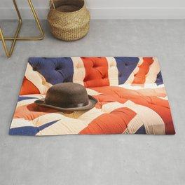 Black Bowler Hat Union Jack Chesterfield Color Rug