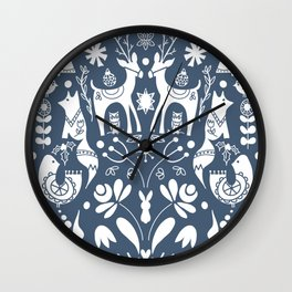 Holiday Folk Art in Blue and White Wall Clock