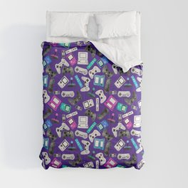 Watercolor Gaming Video Game Devices Pattern Purple Comforters