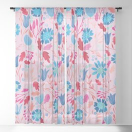 Gouache Floral no.2 | Red & Blue Sheer Curtain