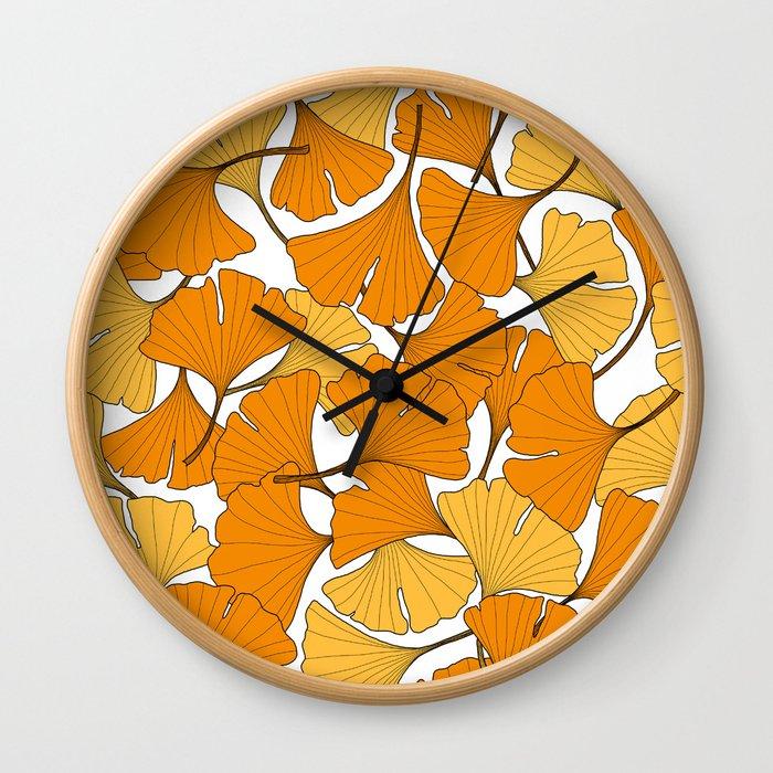 ginkgo leaves (orange) Wall Clock