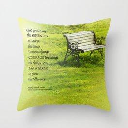 Serenity Prayer Bench Throw Pillow
