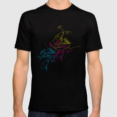 birds doodle in cmyk Mens Fitted Tee Black MEDIUM