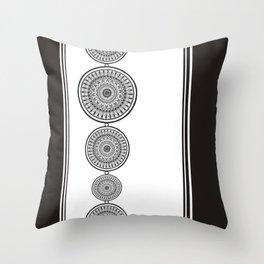 Black and White Mandala - Boho Style ink art, Three Mandala Design Throw Pillow
