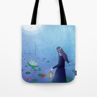 fireflies Tote Bags featuring Fireflies by germaine caillou