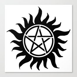 Anti Possession Sigil Black Canvas Print