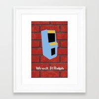 wreck it ralph Framed Art Prints featuring Wreck-It Ralph Minimalist by UraHameshi