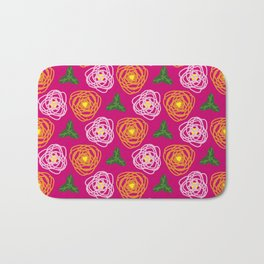 Bright pink floral Bath Mat