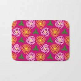 Bright pink floral Bath Mat