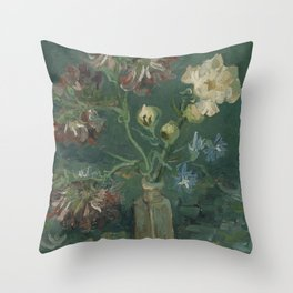 Small Bottle with Peonies and Blue Delphiniums Throw Pillow
