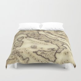 Vintage map of Italy Duvet Cover