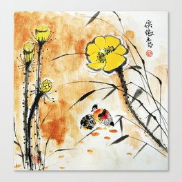 The lotus and Two Birds Canvas Print