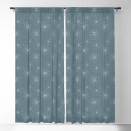 Blue Succulent Rosettes Organic Pattern - Floral Line Drawing Blackout Curtain