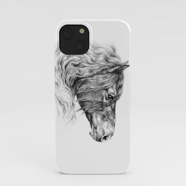 BLACK FRIESIAN HORSE portrait Black & White pencil drawing iPhone Case