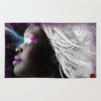 xmen Area & Throw Rugs featuring Portrait of Storm From the X Men by André Joseph Martin