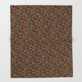 Glitter Fish Gold and Blue Throw Blanket