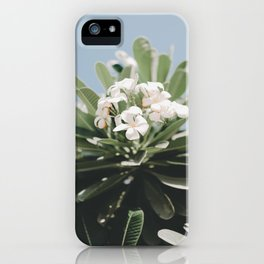 Vibrant White Flower Bunch Leafy Green Planet Clear Blue Sunny Sky iPhone Case