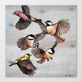 Flying Finches and Chickadees Canvas Print