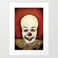 pennywise Art Prints featuring It - Pennywise (Color Version) by Sinpiggyhead