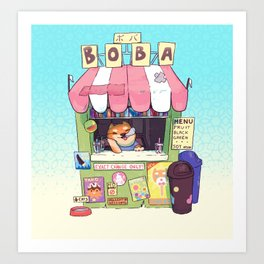 Boba Stand - Shiba Inu Art Print
