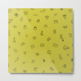 Yellow Monster Pattern Metal Print