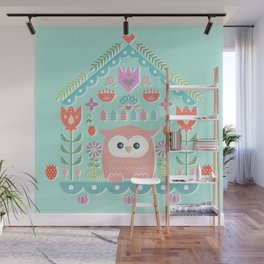 Scandinavian Folk Style Owl Bird House Wall Mural