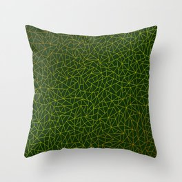Gold Lowpoly in Green Background Throw Pillow