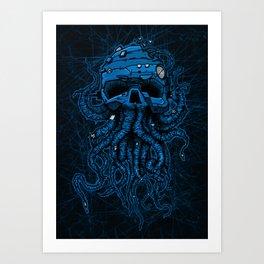 blue kraken skull Art Print