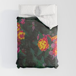 closeup blooming colorful flowers with green leaves Comforters