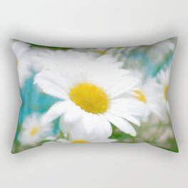 Daisies flowers in painting style 4 Rectangular Pillow
