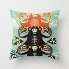 Traffic light monkey Throw Pillow