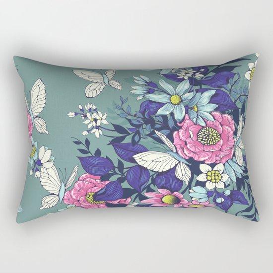 Thea's Garden - in teal tones Rectangular Pillow