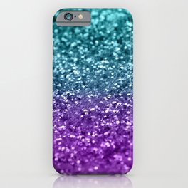 Purple Teal MERMAID Girls Glitter #1 #shiny #decor #art #society6 iPhone Case