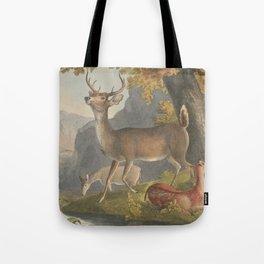 Vintage Illustration of a White Tail Deer (1830) Tote Bag