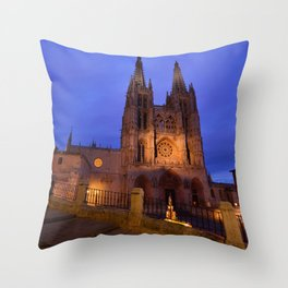 Night view of Burgos Cathedral in Spain. Throw Pillow