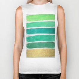 Gold and Green Stripes Biker Tank