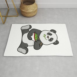 Panda as Vegetarian with Chopstick and Bowl Salad Rug