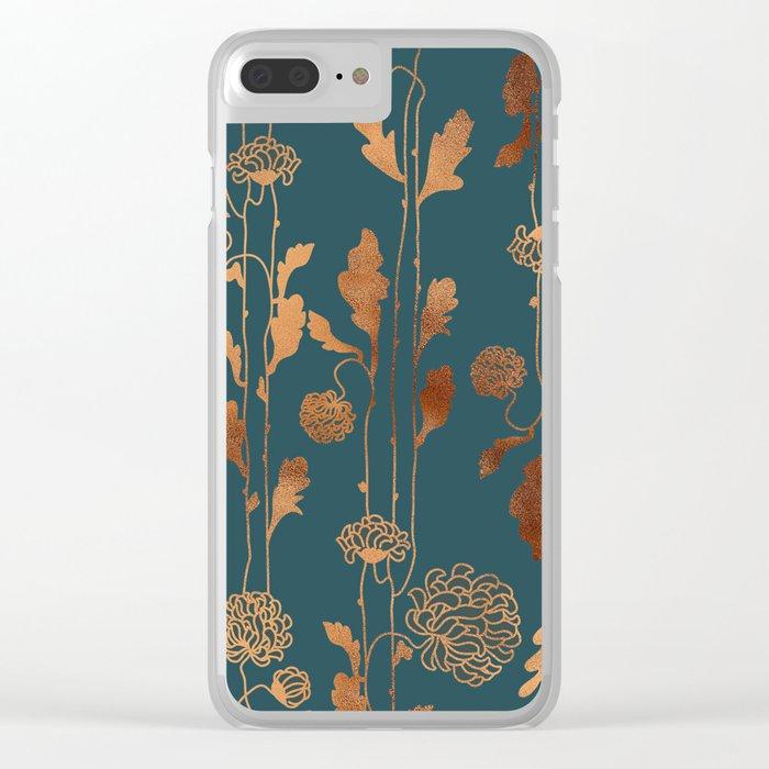 Art Deco Copper Flowers Clear iPhone Case