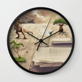 A dinosaur on the table Wall Clock
