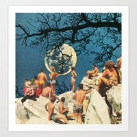 the moon Art Prints featuring Moon by Ben Giles