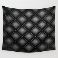 leather Wall Tapestries featuring BLACK LEATHER by Smart Friend