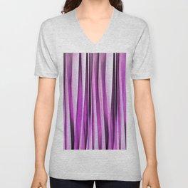 Lavender, Iris and Grape Stripy Pattern Unisex V-Neck