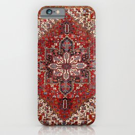 Persia Heriz 19th Century Authentic Colorful Blue Red Cream Vintage Patterns iPhone Case