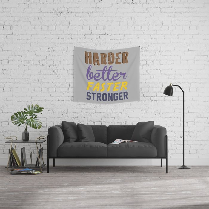 Harder Better Faster Stronger Wall Tapestry