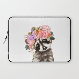 Baby Raccoon with Flowers Crown Laptop Sleeve