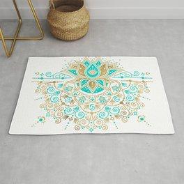 Sacred Lotus Mandala – Turquoise & Gold Palette Rug