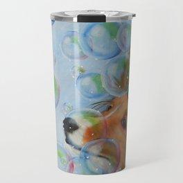 Party Girl Sheltie Dog Painting Travel Mug
